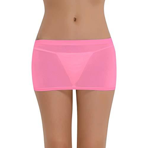 Agoky Frauen Basic Rock Kurzer Bleistiftrock Transparent Unterrock Figurbetont Stretch Etui Minirock Skirt Bodycon Dessous Nachtwäsche weiß, schwarz, gelb, lila, rosa Hot Pink One Size