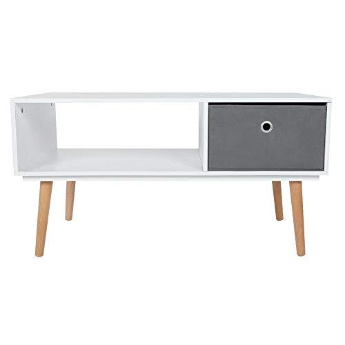 EBTOOLS woonkamertafel, tv-meubel, salontafel, hout, tv-meubel met 1 mand van stof, duurzame televisietafel, praktisch voor woonkamer, slaapkamer, woonkamer, 90 x 48 x 47 cm