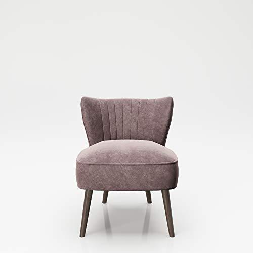 PLAYBOY Sessel mit Rückenlehne, Samtstoff, gepolsteter Loungestuhl aus Samt mit Bestickung und Keder, Massivholzfüsse, Cocktailsessel, Rosa, Rose Quartz, Retro-Design, Club-Stil, Lounge, Wohnzimmer