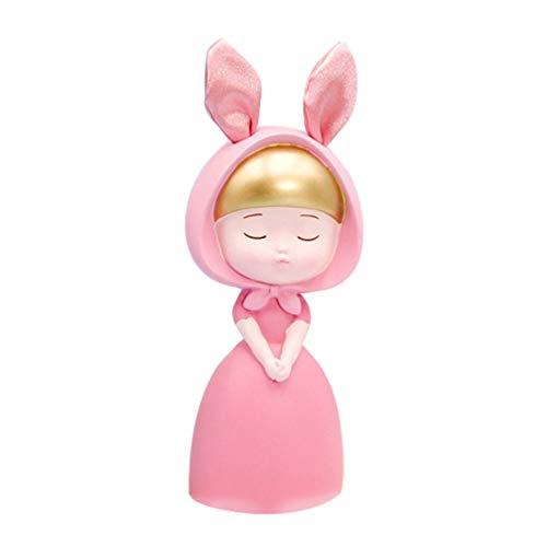 VOSAREA hars konijn figuren dier auto dashboard speelgoed taart topper tuin poppenhuis miniaturen partij gunsten geschenken tafel decoraties - maat S (groen)