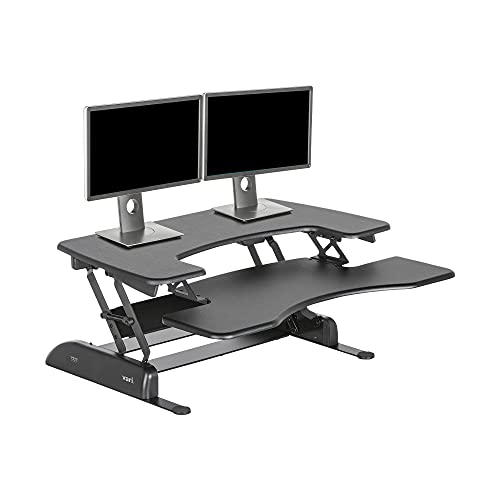 VariDesk Pro Plus 36 by Vari – Dual Monitor Standing Desk Converter – Work or Home Office Sit to Stand Desk – 11 Height Adjustable Settings with Spring Loaded Lift – No Assembly Required