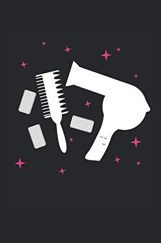 Logotipo de peluquería: Secador de pelo y cepillo de peluquería cuaderno de...