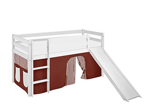 Lilokids Lit Mezzanine JELLE Marron-Beige-Rayures -lit d'enfant Blanc - avec Toboggan et Rideau - lit 90x190 cm