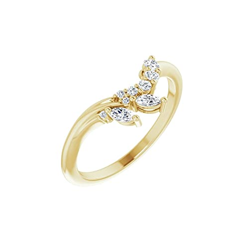 Anillo de oro amarillo pulido de 14 quilates de 0,2 quilates con contorno de diamante, tamaño N 1/2, joyería regalos para mujeres