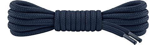 Ladeheid Qualitäts-Schnürsenkel LAKO1003, Elastische Rundsenkel für Arbeitsschuhe und Trekkingschuhe aus 100% Polyester, ø ca. 5 mm Breit, 25 Farben, 60-220 cm Länge (Marine, 80 cm/ø 5 mm)