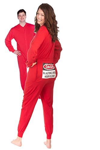 BIG FEET PAJAMA CO. Strampler Rot Red Onesie mit lustigen hinteren Klappe Blast Area für Männer und Frauen…