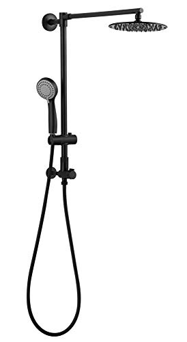 """Polaris 1 Retrofit Rain Shower System, 3-Setting Handheld Shower Combo with Slide Bar, 8"""" Low Profile Shower Head, Ideal for Low-ceiling Bathroom DIY Remodel (Oil Rubbed Bronze)"""