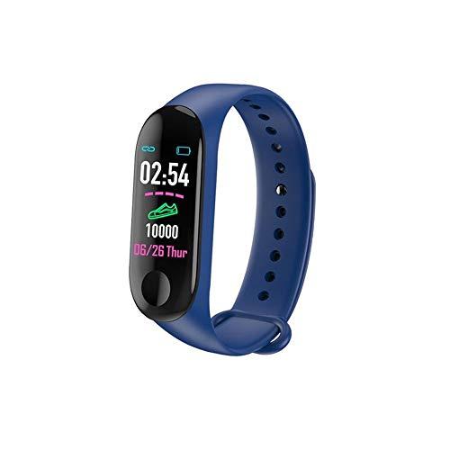 LZXMXR Reloj inteligente, pantalla a color de 0.96 pulgadas, reloj de fitness con podómetro monitor de sueño de calorías, pulsera de seguimiento inteligente impermeable (color: azul)