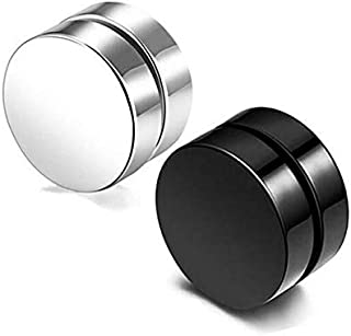2Pair Fashion Korean Men Stud Earrings Titanium Steel Magnet Man Magnetic Round Earring Jewelry Accessories Gifts