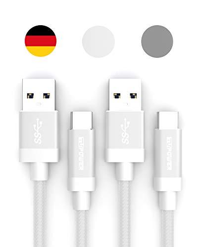 TUPower K16 2X USB Type C Kabel auf 3.0 QuickCharge Ladekabel 0,3m kompatibel mit Samsung Galaxy S20 S10 S9 Plus A80 A70 A50 A40 LG G7 Thinq Typ C lang