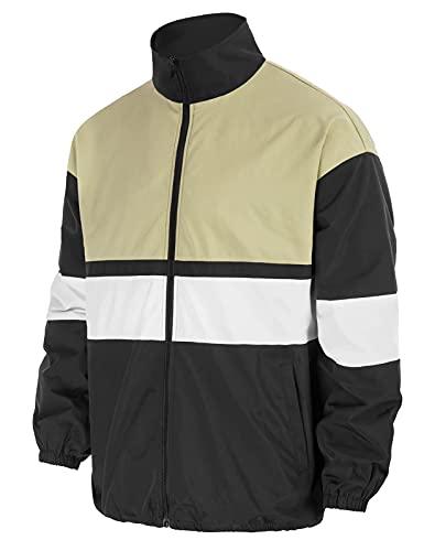 Men Long Sleeve Jacket Stand Collar Waterproof Full Zip...