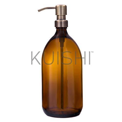 Botella de vidrio color ámbar marrón, dispensador de jabón con bomba de acero inoxidable de Kuishi, dorado, 1.000 ml