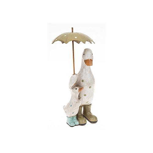 Shudehill Giftware Aqua Blue and Green Polka Dot Duck & Baby with Umbrella Ornament