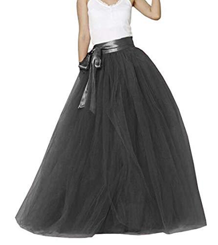 Meibida Falda Larga de Tul Fiesta de tutú con Falda Larga para Mujer (Negro, Circunferencia de Cintura 100-120cm)