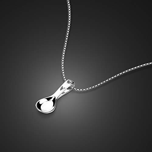 Davitu - Collar de plata de ley 925 con colgante de cuchara de 45 cm