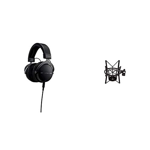 beyerdynamic DT 1770 PRO Over-Ear-Studiokopfhörer in schwarz. Geschlossene Bauweise, steckbares Kabel & Røde elastische Mikrofonhalterung PSM1