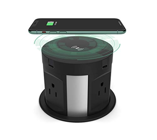 Automatic Pop Up Outlet for Countertop, Recessed Power Strip with USB Port, 4 AC Plug + Type-A and Type-C USB Pop Up Socket, Wireless Charger Station Power Tower for Kitchen Conference Workbench