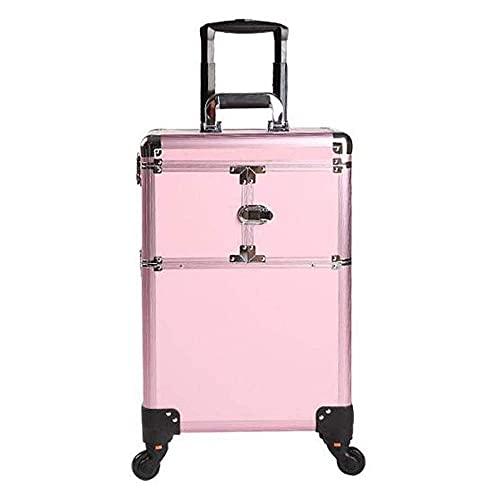 Carro organizador extraíble con ruedas de aleación de aluminio, estuche de tren extra grande, estuche de maquillaje grande, capacidad rosa, rueda universal para tatuajes con caja de maquillaje, caja