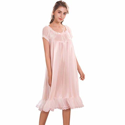 Damen Satin Silk Nachthemd Negliee,Seide seidenmatt Sleepshirt Schlafanzug, Luxus und Charmant Ladies Lang Nachtwäsche Nachtkleid Lingerie Pyjamas Sleepwear
