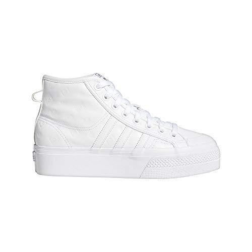 adidas Damen Nizza Platform MID W Gymnastikschuh, FTWR White FTWR White Core Black, 41 1/3 EU