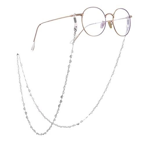 AMOZ Moda Hollow Linked Heart Pattern Gafas de Sol Cadena Segura Lentes de Lectura Soporte de Correa Retenedor de Gafas para Mujeres Oro Rosa,Plata, Estilo 2