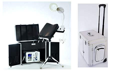 Fußpflege-Erstausstattung Set Emmy Gerät Podomonium Ecomonium/Fußpflege Koffer Titanium Silber/Beinstütze & LED Klemmleuchte