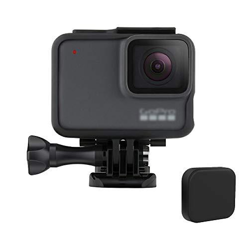 XIAOYINREN GoPro HERO7 Black・HERO6・HERO5用 保護フレーム 直接充電 ウェアラブルカメラ用ケース・ブラック(レンズカバーおまけ)