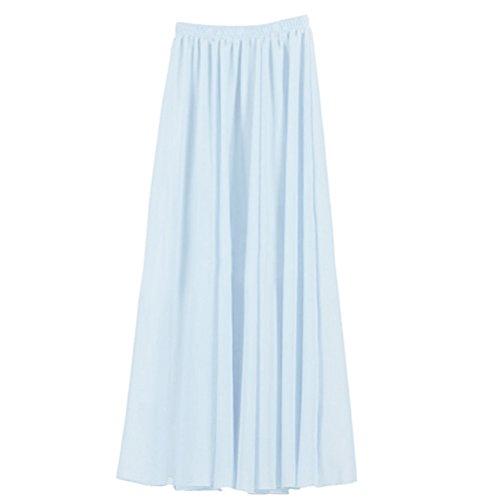 Nlife Frauen-Doppelte Schicht Chiffon- gefalteter Retro- langer Maxi Rock-elastischer Taillen-Rock, 100cm, Farbe: Light Blue
