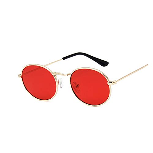 ZZDH Gafas de Sol Pequeño Marco Oval Gafas de Sol Mujeres Espejo Gafas Hembra aleación Espejo Marco Regalo para Madres (Lenses Color : GoldRed)