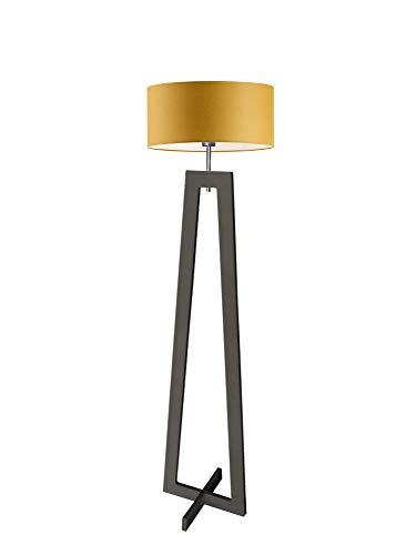 Lámpara de pie Bali de madera, color amarillo mostaza, marco negro