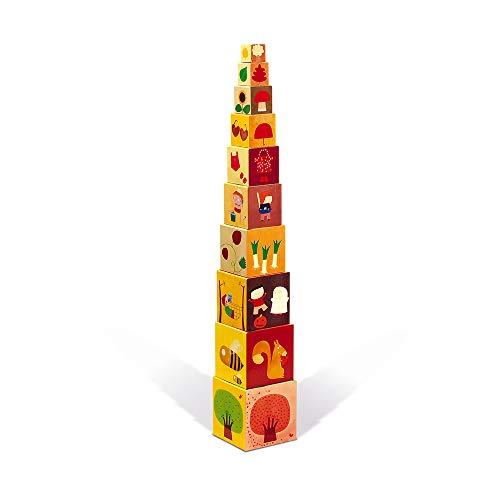 """Janod J02917 """"The 4 Seasons"""" Quadratische Pyramide, stapelbare Klötze, Interaktionsspielzeug für Kleinkinder, für Kinder ab 1 Jahr"""