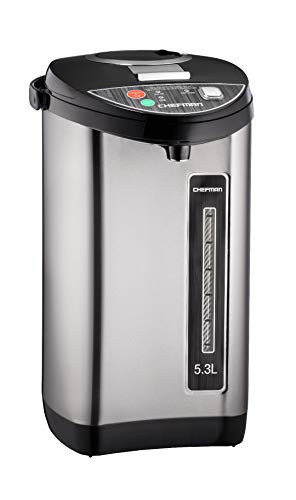 Instant Electric Hot Water Pot, Safety Lock to Prevent Spillage, Auto and Manual Dispense Buttons, Auto Shutoff, 360 Degree Rotating Base, UL Certified, Stainless Steel, 5.3L/5.6 Qt (Renewed)