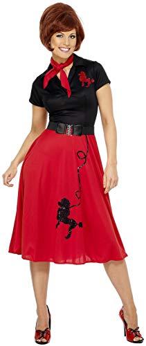 Smiffys volwassen vrouwen 50's stijl poedel kostuum, jurk, sjaal en riem, Rockin' 50's, serieus leuk