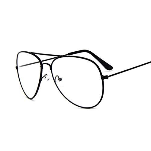 NJJX Gafas De Sol Con Montura Dorada De Aviación, Gafas Clásicas Para Hombre, Lentes Transparentes Transparentes, Gafas Ópticas Para Hombres Y Mujeres, Estilo Piloto, Negro
