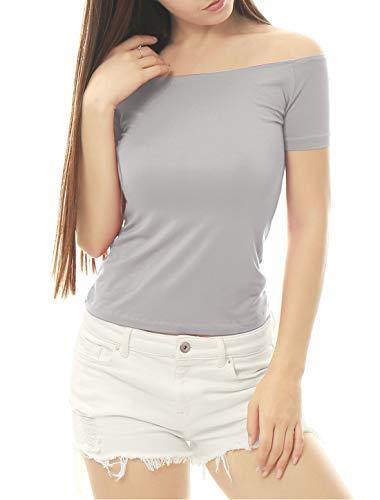 Allegra K Women's Short Sleeves Off The Shoulder Solid Crop Top Medium Gray