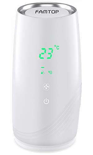 FAMTOP Purificador de Aire Portátile para Hogar Oficina 3 en 1 Filtro HEPA Carbón Activado, Purificadores de Escritorio USB Mini con Indicador de Calidad del Aire, Eliminar 99.97% Polvo, Humo, Olores