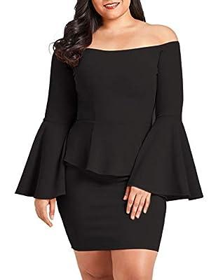 VINKKE Womens Peplum Off The Shoulder Party Plus Size Mini Dress