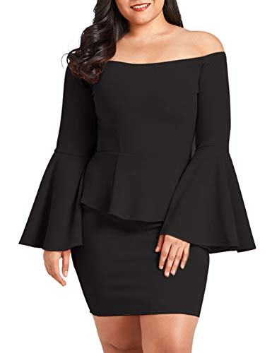 VINKKE Womens Peplum Off The Shoulder Party Plus Size Mini Dress Black-XL