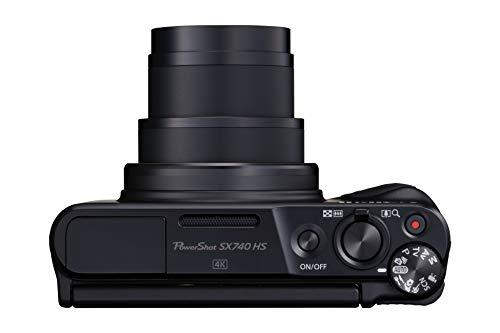 Canon PowerShot SX740 HS Digitalkamera (20,3 MP, 40-fach optischer Zoom, 7,5cm (3 Zoll) Display, DIGIC 8, 4K Ultra HD, HDMI, WLAN, Bluetooth, Blendenautomatik, Zeitautomatik), schwarz