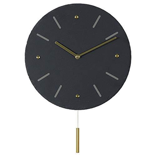 SWNN Relojes de Pared 30CM Nórdica Hogar Creativo Pizarra Reloj De Pared De Piedra Reloj De Bronce Escala Swing De Diámetro Ronda