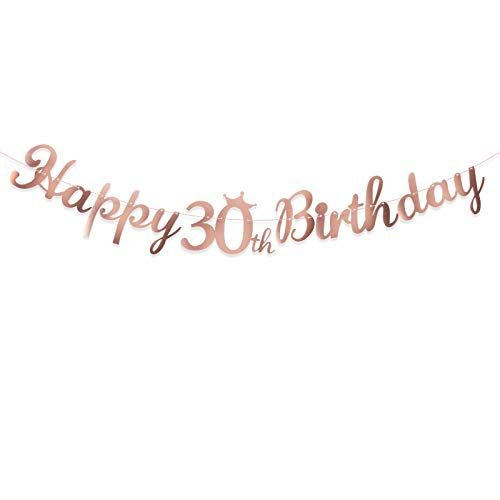 Happy 30th Birthday Banner Crown Garlands Backdrop Bunting Thirty Years Old Anniversary Photo Booth Background DIY Party Decoration Supplies for Boys or Girls Living Room (Rose Gold)