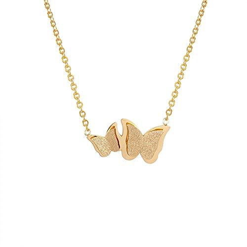 Collar Hermoso Collar Con Colgante De Mariposa De Tamaño Helado, Joyería De Mujer, Collar De Amor De Acero Inoxidable, Regalo Para Cumpleaños
