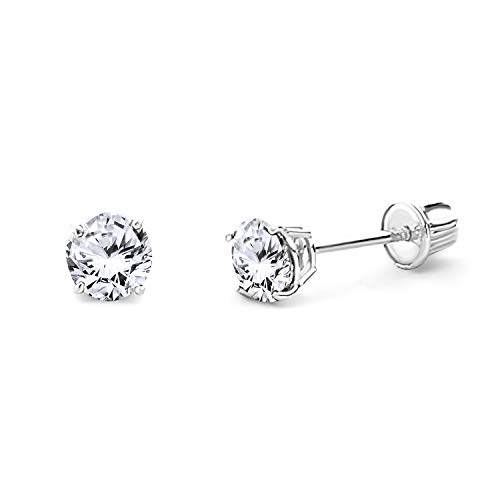 14k White Gold 4mm Round Solitaire Basket Set Stud Earrings with Screw Back