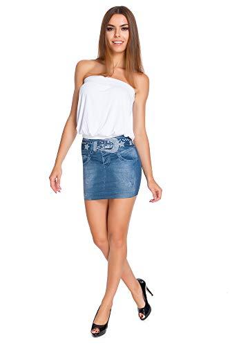 FUTURO FASHION - Mini-Jupe pour Femme - Imitation Jean - Moulant/Extensible/sans Coutures - FS01 - Bleu - M