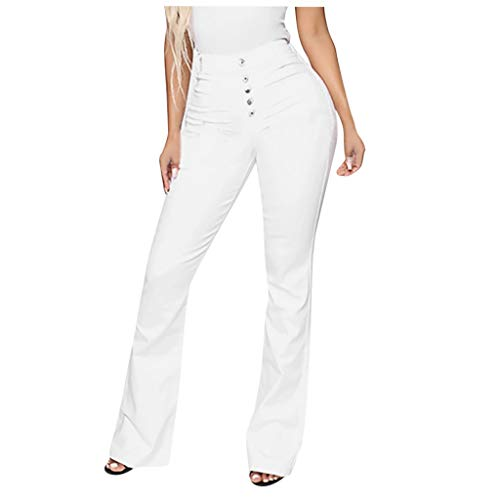 WUAI Plus Size Jeans for Women,Classic High Waist Bell Bottom Flare Jeans Stretch Fit Bootcut Jean Denim Pants(White,X-Large)