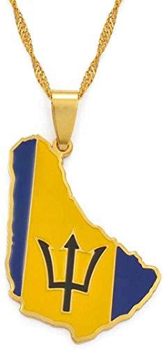 TTDAltd Collar Tamaño pequeño Mapa de la Isla de Barbados ysímbolo de la BanderaamperioCollares Pendientes Color Dorado yAcero Inoxidable Mapas de Barbados Joyería