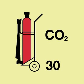 NMC IMO149P, Wheeled Fire Extinguisher CO2 Label (Pack of 25 pcs)