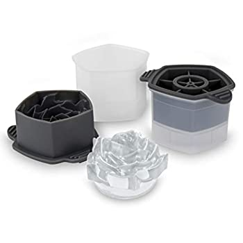 Tovolo Rose Ice Cube Stackable with Tight Silicone Seal Novelty Drink Mold-Set of 2 One Size Clear 2 Frost/Charcoal