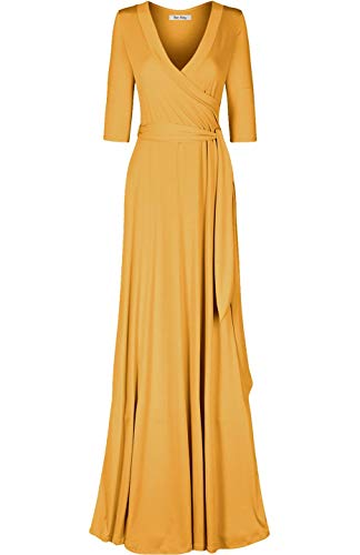 Mustard color maxi wrap dress with ¾ sleeve