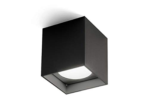 Homemania - Lámpara de Techo Two, Cuadrada, de Pared, Color Negro, de Aluminio, 8 x 8 x 8,7 cm, 1 LED, 10 W, 595 LM, 3000 K, 220-240 V